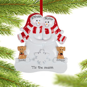 Personalized Snowman Couple with 2 Brown Dogs Christmas Ornament