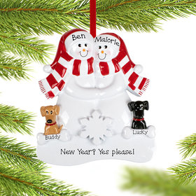 Personalized Snowman Couple with 1 Brown and 1 Black Dog Christmas Ornament