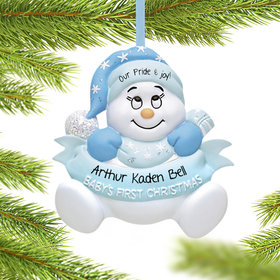 Personalized Snow Baby 1st Christmas Boy Christmas Ornament