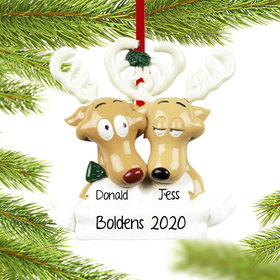 Personalized Reindeer Family 2 Christmas Ornament