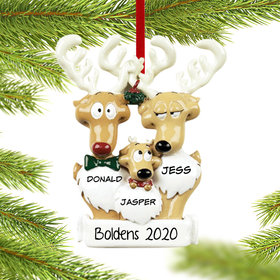 Personalized Reindeer Family 3 Christmas Ornament