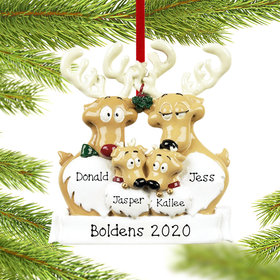 Personalized Reindeer Family 4 Christmas Ornament