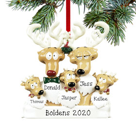Personalized Reindeer Family 5 Christmas Ornament