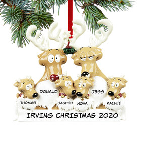 Personalized Reindeer Family 6 Christmas Ornament