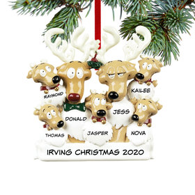Personalized Reindeer Family 7 Christmas Ornament