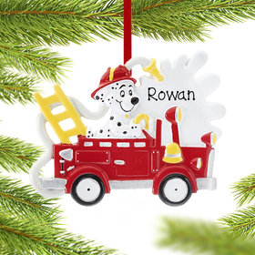 Personalized Fire Truck With Dog Christmas Ornament