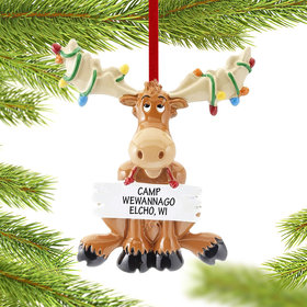 Personalized Christmas Moose with Lights Christmas Ornament