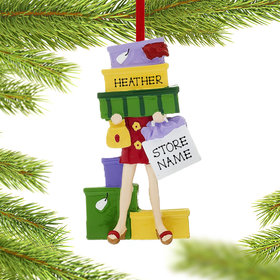 Personalized Born To Shop Christmas Ornament