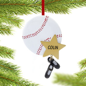 Personalized Baseball Star with Cleats Christmas Ornament