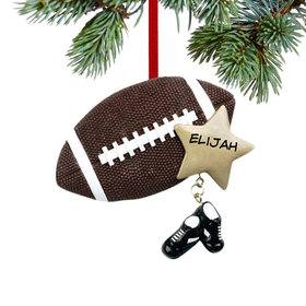Personalized Football with Star and Cleats Christmas Ornament
