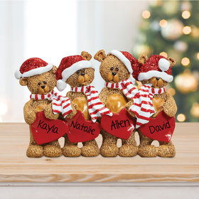 Personalized Bears With Hearts Family 4 Table Decoration Christmas Ornament