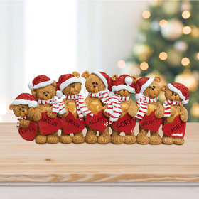 Personalized Bears With Hearts Family 7 Table Decoration Christmas Ornament