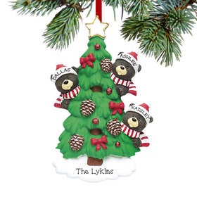 Personalized Black Bear Tree Family 3 Christmas Ornament