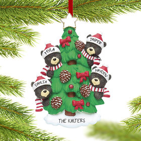 Personalized Black Bear Tree Family 4 Christmas Ornament