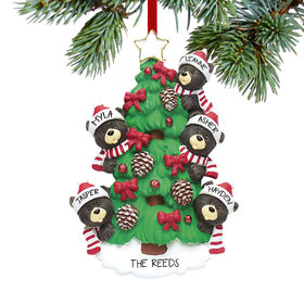 Personalized Black Bear Tree Family 5 Christmas Ornament
