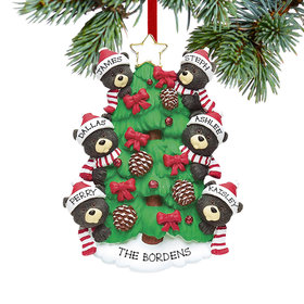 Personalized Black Bear Tree Family 6 Christmas Ornament