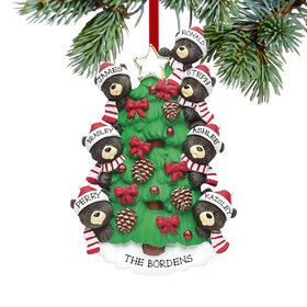 Personalized Black Bear Tree Family 7 Christmas Ornament