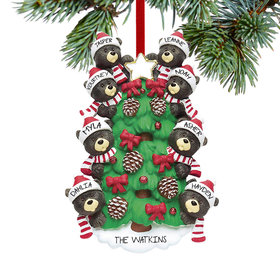 Personalized Black Bear Tree Family 8 Christmas Ornament