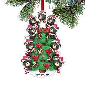 Personalized Black Bear Tree Family 9 Christmas Ornament