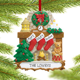 Personalized Fireplace 3 Stockings Christmas Ornament