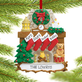 Personalized Fireplace 4 Stockings Christmas Ornament