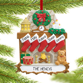 Personalized Fireplace 5 Stockings Christmas Ornament