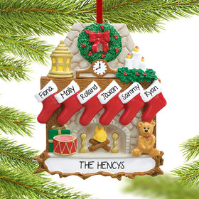 Personalized Fireplace 6 Stockings Christmas Ornament