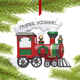 Personalized Red Christmas Train Engine Christmas Ornament