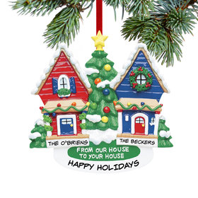 Personalized From Our House To Your House Red House and Blue House Christmas Ornament