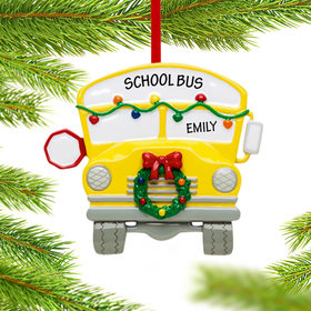Personalized School Bus with Wreath Christmas Ornament