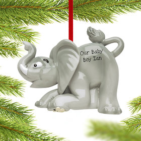 Personalized Baby Elephant Christmas Ornament