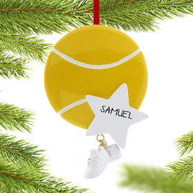 Personalized Tennis Ball with Star and Tennis Shoes Christmas Ornament