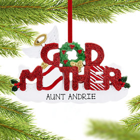 Personalized God Mother Letters Christmas Ornament
