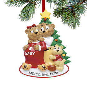 Personalized Expecting Bear Family of 3 Christmas Ornament