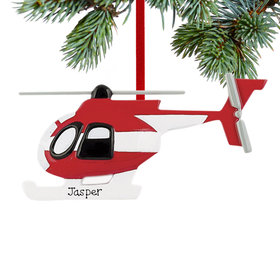 Personalized Red and White Helicopter Christmas Ornament