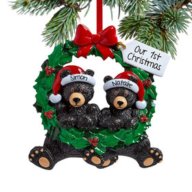 Personalized Black Bear Wreath Couple Christmas Ornament