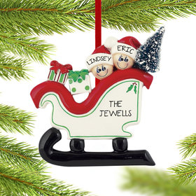 Personalized Sleigh Family 2 Christmas Ornament