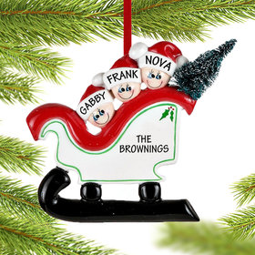 Personalized Sleigh Family 3 Christmas Ornament