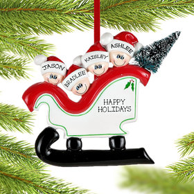 Personalized Sleigh Family 4 Christmas Ornament