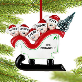 Personalized Sleigh Family 5 Christmas Ornament