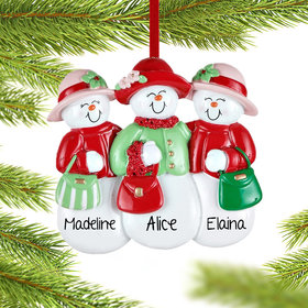 Personalized 3 Sisters or Friends Wearing Hats Christmas Ornament