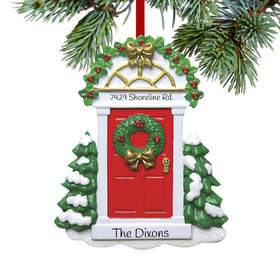 Personalized Red Door with Wreath and Evergreen Trees Christmas Ornament