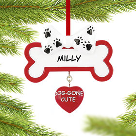 Personalized Dog-Gone Cute Dog Bone Christmas Ornament