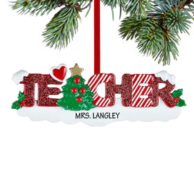 Personalized Teacher Letters Christmas Ornament