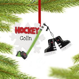 Personalized Hockey Snowflake with Skates Christmas Ornament