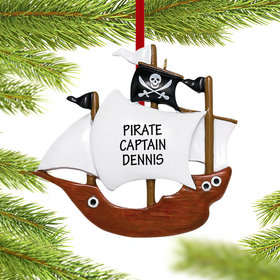 Personalized Pirate Ship Christmas Ornament