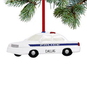 Personalized Police Car with Blue Stripe Christmas Ornament