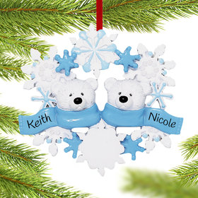 Personalized Snowflake Polar Bears 2 Christmas Ornament