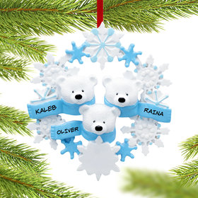 Personalized Snowflake Polar Bears 3 Christmas Ornament