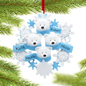 Personalized Snowflake Polar Bears 4 Christmas Ornament